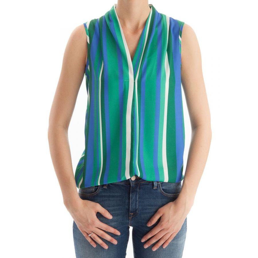 Only M Lotte blouse mouwloos stripe kobalto_2