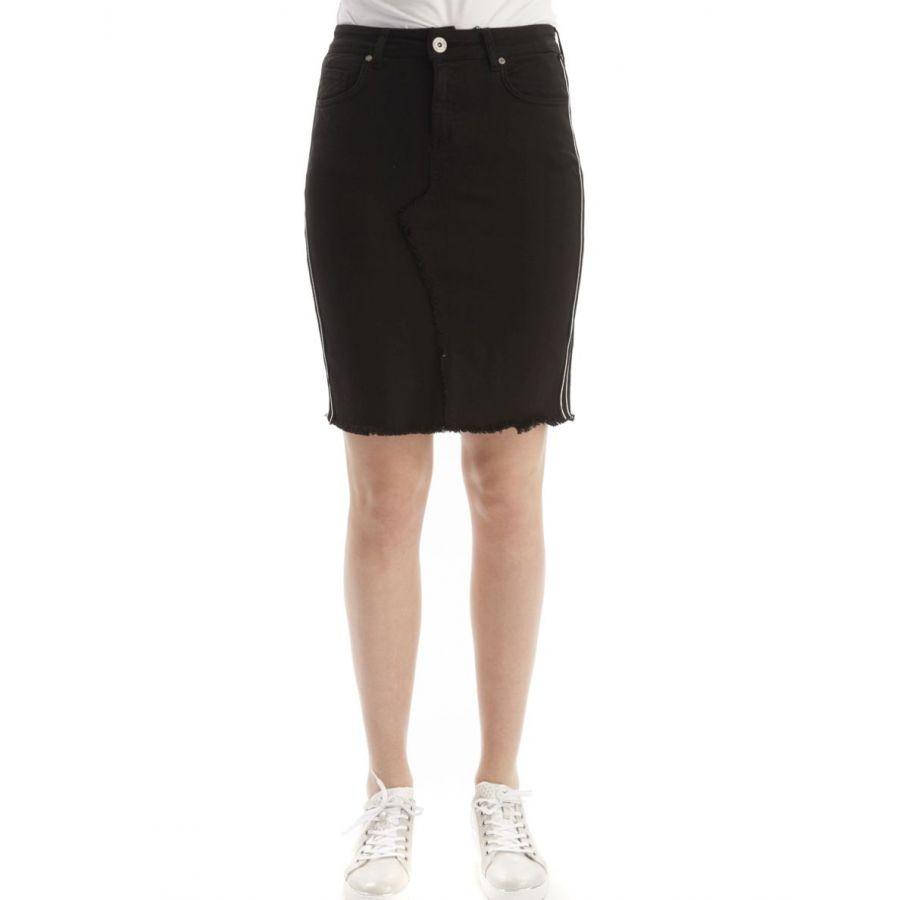 YEST Kelly jeans rok met bies zwart _1
