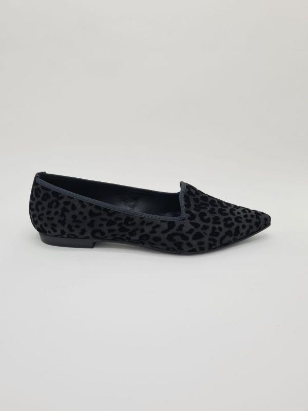 Frank Lindie loafer black velours print_1
